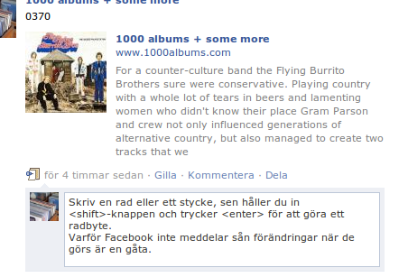 facebook.com - radbryt med shift och enter
