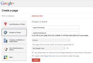 Google+ företagssidor - registrering