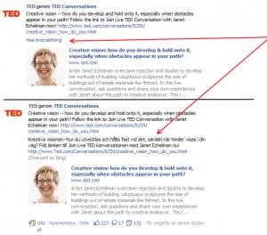 Exempel på översättning på Facebook