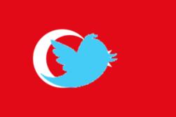Twitter logo över Turkiska flaggan